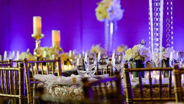 decorated table with bluish purple backlighting