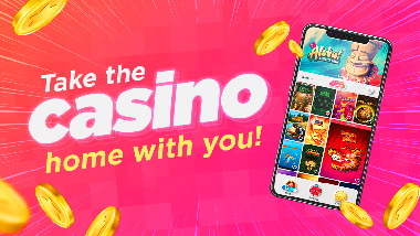 "pink background, mobile phone with app on screen, falling coins and text: ""Take the casino home with you!"""