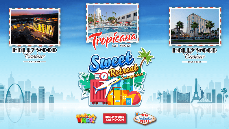 Hollywood Casino St. Louis logo and image, Tropicana Las Vegas logo and Image, Holllywood Casino Gulf Coast logo, Sweet Retreat Sweepstakes logo with plan, luggage and palm trees and Abradoodle Bingo, Hollywoodcasino.com and Viva Slots Vegas logos